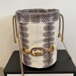 Gucci Zumi Snakeskin Mini Bucket Chain Bag 576432